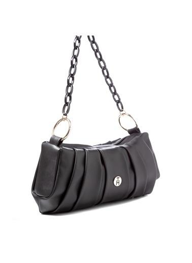 TH Bags TH Bags 2THCW2020076 Fermuarlı Desenli Kadın Omuz Çantası Siyah